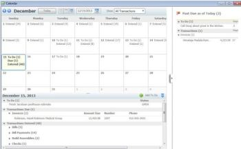 QuickBooks 2012 adds a calendar view.