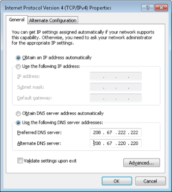 Setting DNS addresses in Windows