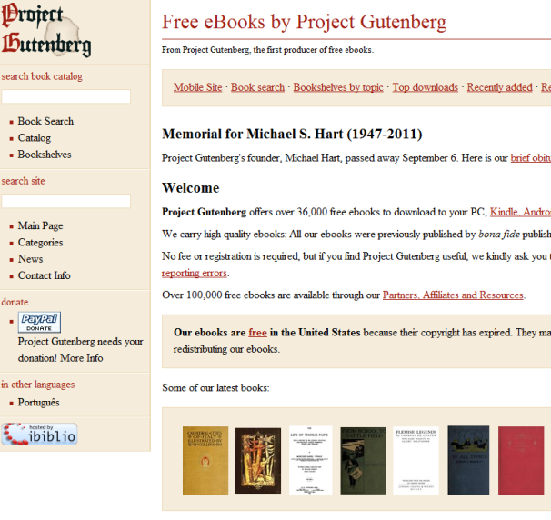 Download free ebooks from Project Gutenberg.