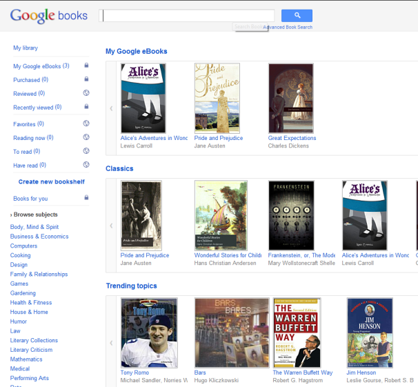 Download free ebooks from Google Books.