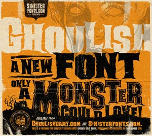 Ghoulish font screenshot. Image copyright: Gary Pullin