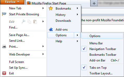 Change Your Mozilla Firefox Home Page