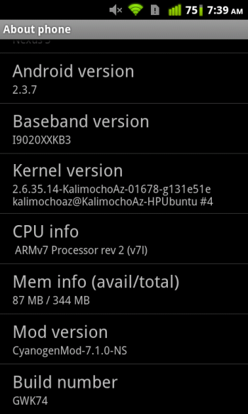 The typical CyanogenMod About Phone screen.