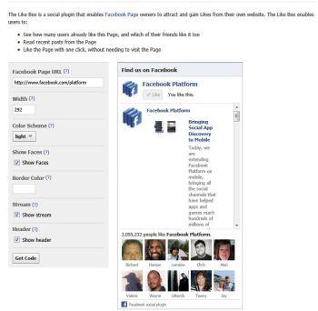 Add a Facebook 'Like' box.
