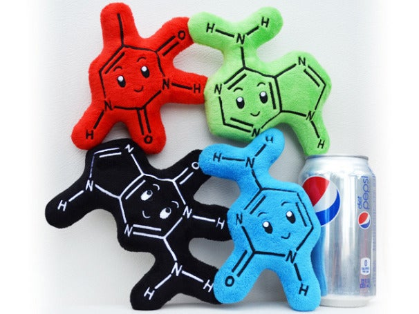 Biochemies plush dolls standing next to Pepsi can reference point, Credit: Biochemies