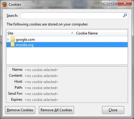 removal of cookies from computer