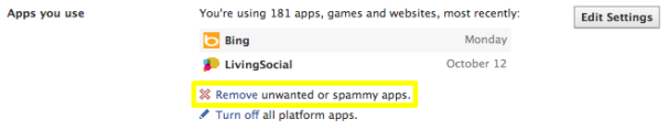 Facebook: Remove unwanted or spammy apps