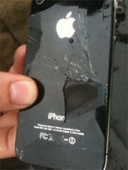 "The iPhone 4 after the ""self combusting"" incident.  Image: Courtesy of  Rex Media (Regional Airlines)"