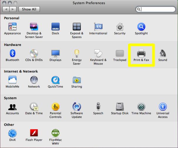 Mac OS X: Print and Fax