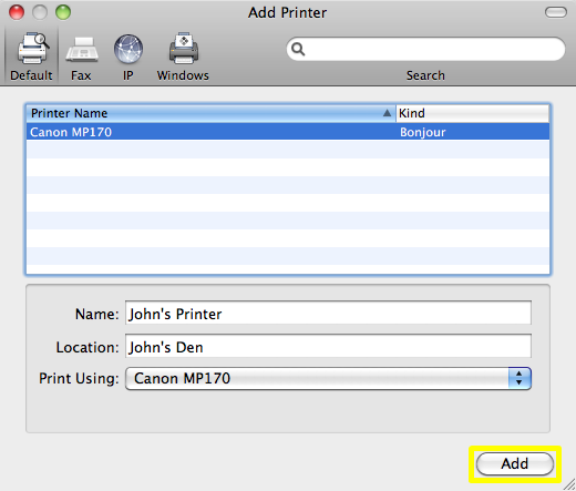 Mac OS X: Add Printer