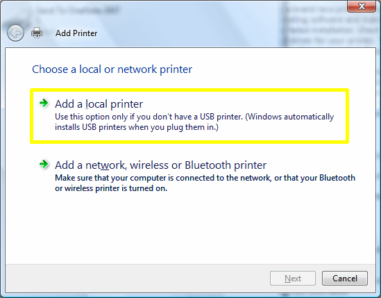 Windows: Add a local printer