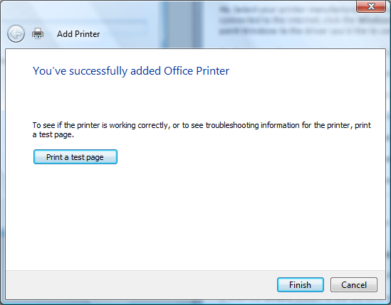 Windows: Print a test page