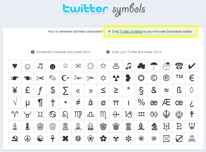 use twitter special characters via bookmarklets