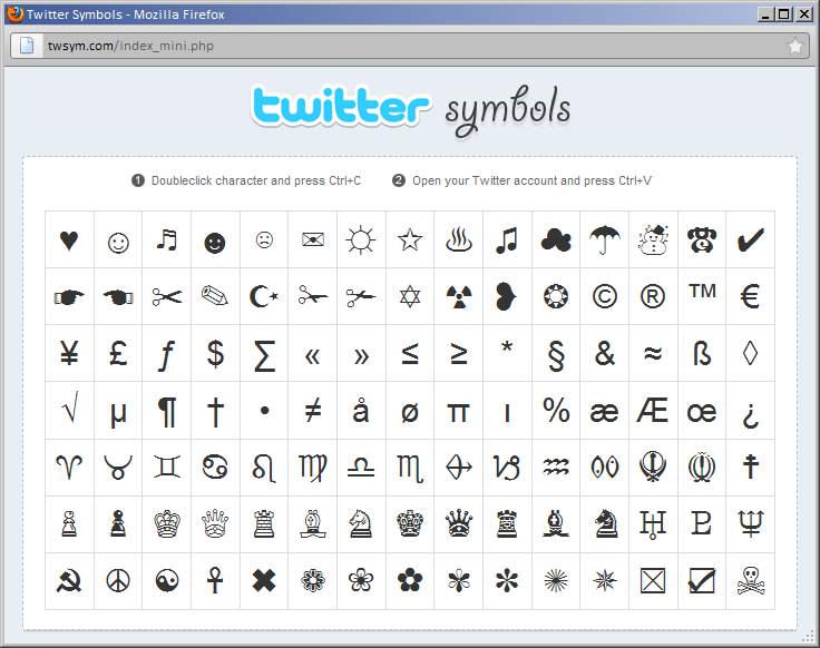 use special characters on twitter by pasting from the web