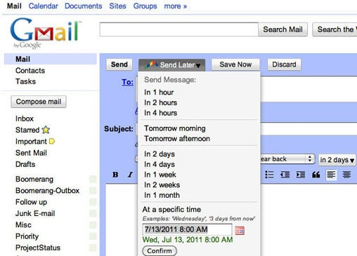 gmail messages, send later, boomerang