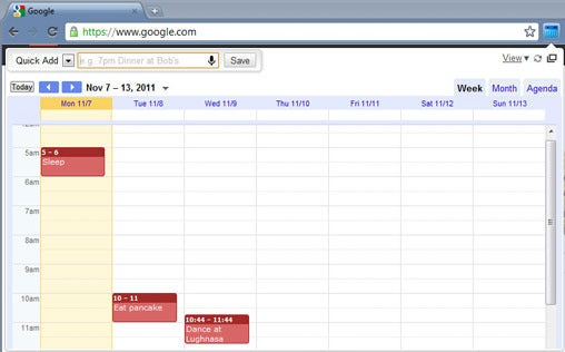 interactive view, google calendar
