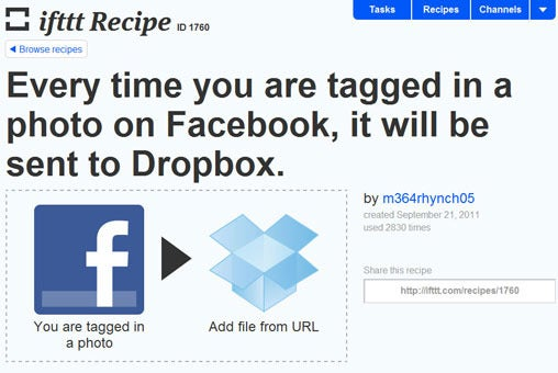 IFTTT, cloud services, facebook, dropbox