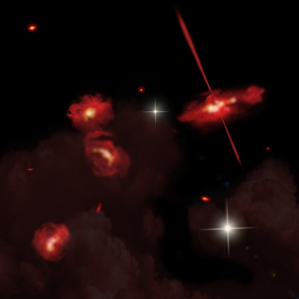 Artist rendering of the four extremely red galaxies, Credit: David A. Aguilar, Director of Public Affairs, Harvard-Smithsonian Center for Astrophysics