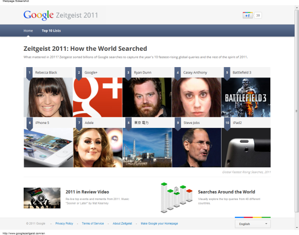 Google Reveals Top 10 Searches of 2011