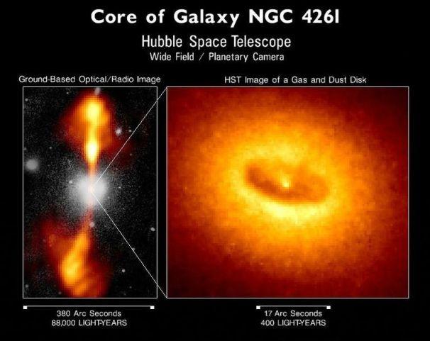 NGC 4261 Quasar Gas Jets Spill 88,000 light years; Credit: NASA