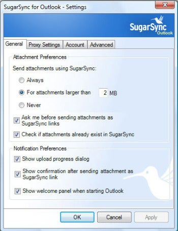 SugarSync for Outlook screenshot