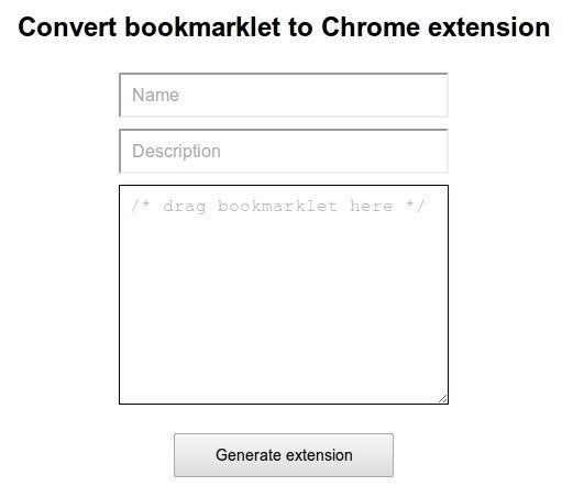 Online Tool Converts JavaScript Bookmarklets into Chrome Extensions