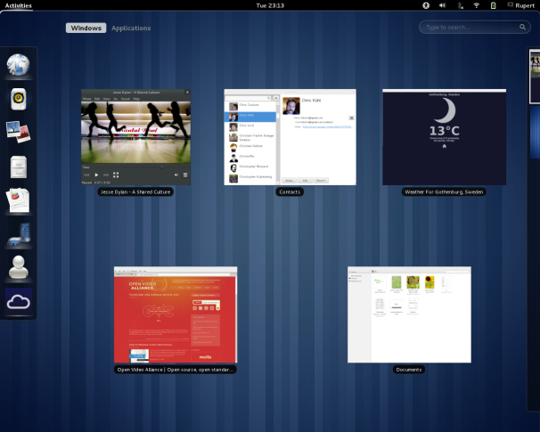 The Gnome 3 desktop environment
