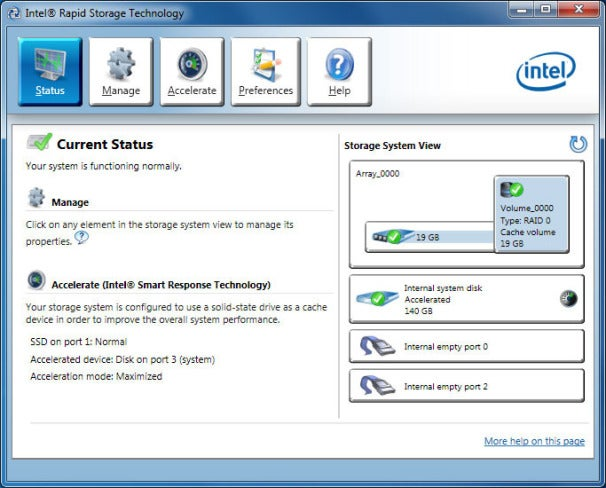 In a properly configured system, Intel's Smart Response Technology can be enabled or disabled via the Intel Rapid Storage Technology control panel, which gets installed along with the storage controller's drivers.