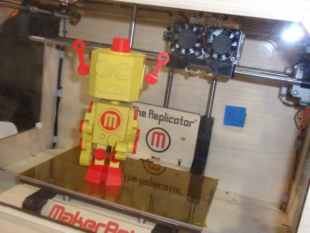The MakerBot Replicator shown with two-color creation