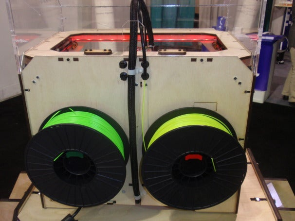 ABS plastic mounted on two wheels to be fed separately into the two extruders
