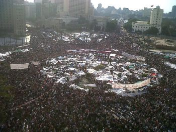 Tahrir Square, February 8, 2011; photo credit: Flickr user Mona.