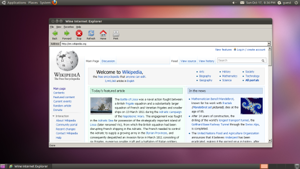 WINE running Internet Explorer in Ubuntu