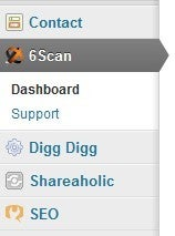 6Scan appears in the left-hand Wordpress sidebar.