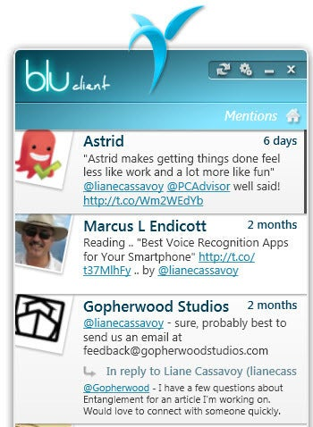 Blu desktop Twitter client screenshot
