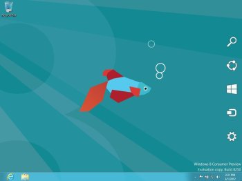 The Windows 8 Charms Bar contains a set of system commands such as Settings and Search.