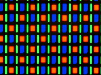 The PenTile arrangement of subpixels on the Google Nexus One's AMOLED screen.