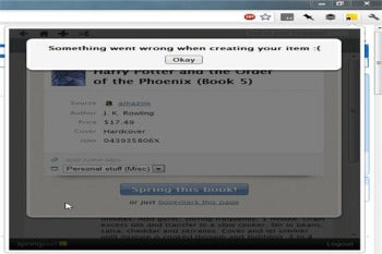 Springpad error message