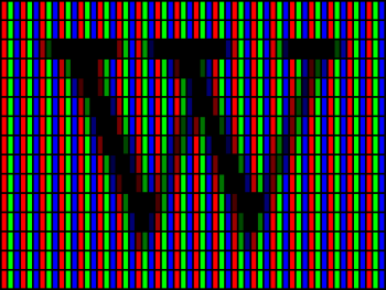 An arrangement of standard red, green, and blue subpixels.