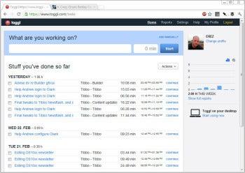 Toggl Web interface screenshot