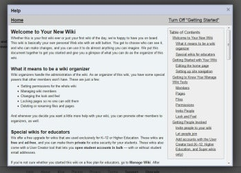 Wikispaces documentation screenshot