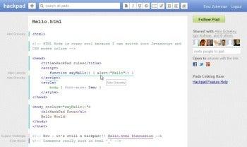 Hackpad syntax highlighting screenshot