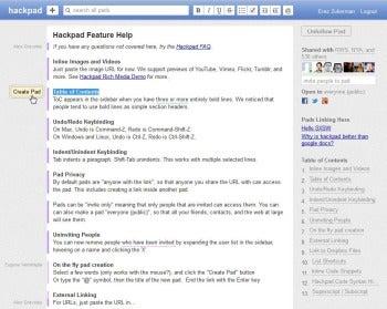 Hackpad new page screenshot