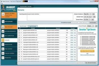 Market Samurai domain name screenshot