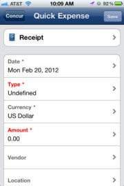 Quick Expense Screen in Concur's iPhone app