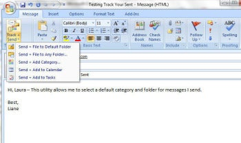 Track Your Sent Outlook add-on screenshot