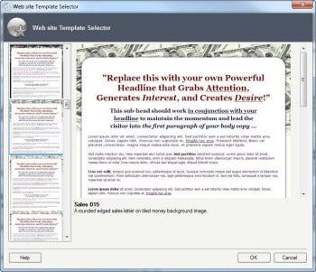 XSite Pro screenshot (sales letter)