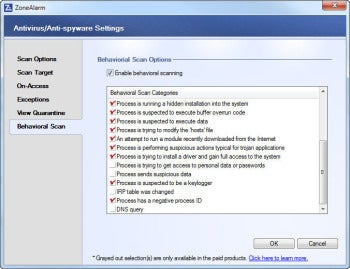 ZoneAlarm Free Antivirus + Firewall advanced screenshot