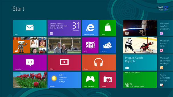 Windows 8: Start screen