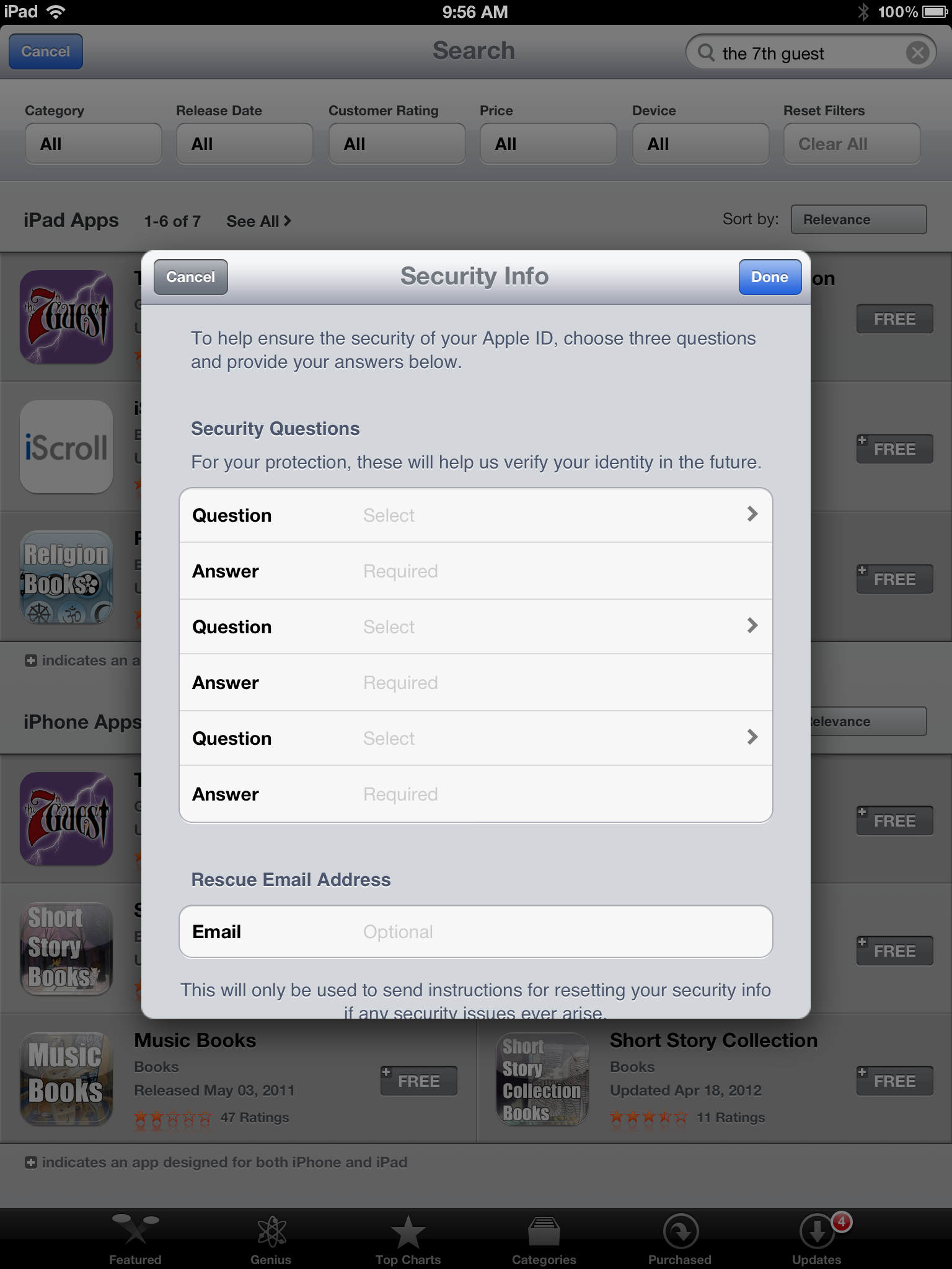 how to change security questions on itunes