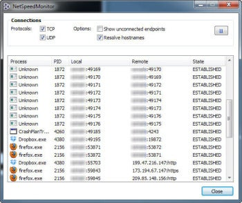 NetSpeedMonitor connection screenshot